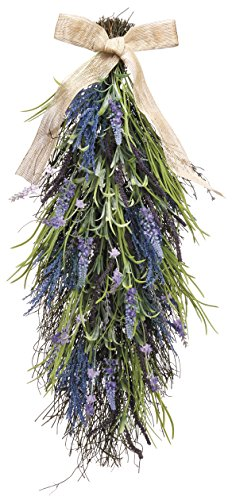27 Inch Artificial Lavender and Wild Grasses Door Swag On A Vine Base - Decor Swag