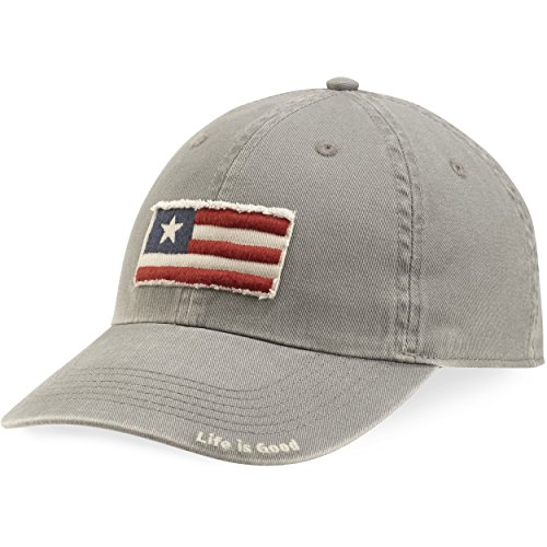 Life is good Tattered Chill Cap Three Stripe Flag Hat, Slate Gray, One Size Photo #1