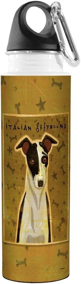 Tree-Free Greetings VB48041 John W Black and White Italian Greyhound Golden Artful Traveler Stainless Steel Water Bottle 18-Ounce