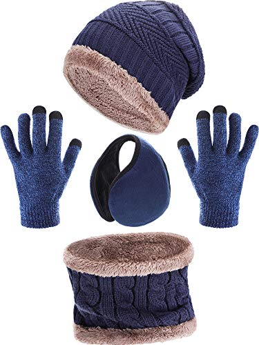 Tatuo 4 Pieces Ski Warm Set includes Winter Hat Scarf Warmer Gloves Winter Outdoor Earmuffs for Adults Kids (Navy Blue)