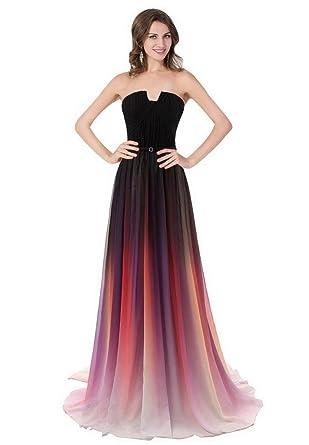 b74c25b1f4dd DLFASHION Women's Strapless Sweep Train Chiffon Evening Prom Dresses:  Amazon.co.uk: Clothing