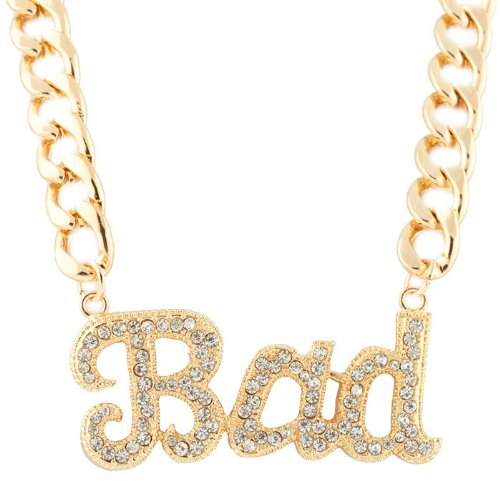 Ladies Metallic Goldtone with Clear Iced Out Script Bad Pendant with a 15 Inch Adjustable Thick Cuban Chain - Nikki Style Minaj