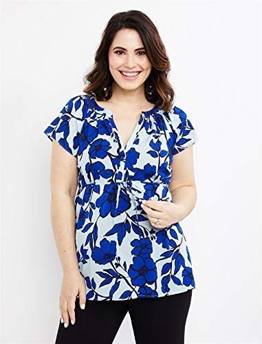 Motherhood Maternity Women's Maternity Split Neck Flutter Sleeve Woven Blouse, Blue Floral Print, Medium