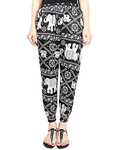 Alta Harem Vita Sciolto Pantaloni Elastica Nero Vita Stampa Donna Traspirante nCvwSp