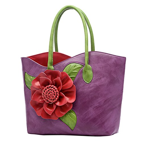 ABage Women's PU Leather Purse Vintage 3D Flower Tote Top Handle Crossbody Handbag, ()