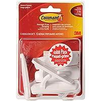 Command Utility Hooks Value Pack, Adhesive Hooks, Medium, 6 Wall Hooks 12 Medium Strips