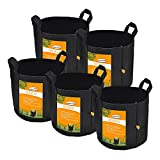 Set of 5 Pack 1 Gallon Grow Bags by Sonice,Aeration Fabric Pots With Handles