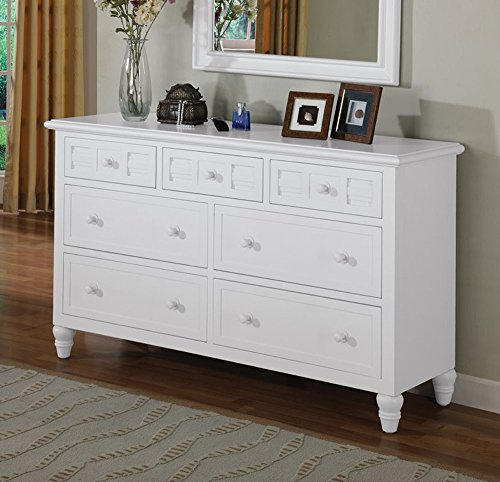 Oceanside White Cape Cod style Solid Wood 7 Drawer Dresser by Seawinds Trading - Comes fully assembled. (Furniture Cape Cod White Bedroom)