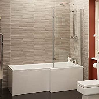 Shower Bath Tub L Shape Acrylic White 1700 Right Hand Bathtub Includes  Front Panel With Shower