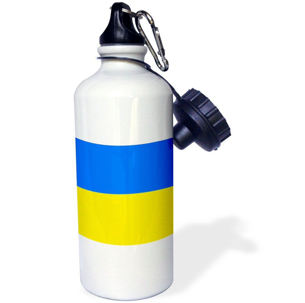 3dRose wb_159820_1''Flag of Ukraine-Ukrainian blue and yellow bicolor-Eastern Europe-European country world'' Sports Water Bottle, 21 oz, White