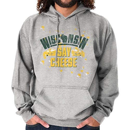 Wisconsin Say Cheese WI Cheesehead Souvenir Hoodie Sweatshirt Sport Grey