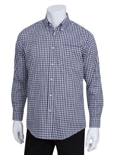 (Chef Works Men's Uniforms Mens Gingham Dress Shirt, Dark Navy Gingham, 2X-Large)