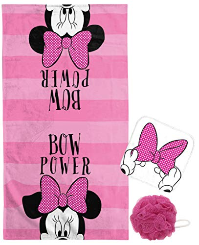 Jay Franco Disney Minnie Mouse Kids Bath/Beach/Spa Bath/Wash Set - Featuring Towel,Washcloth and Loofa - Super Soft & Absorbent Fade Resistant Cotton Towel (Official Disney Product)