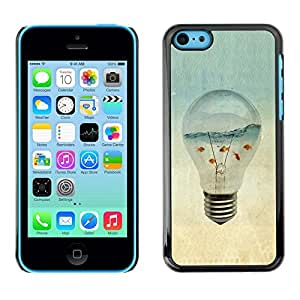 Caucho caso de Shell duro de la cubierta de accesorios de protección BY RAYDREAMMM - Apple iPhone 5C - Aquarium Gold Fish Ocean Sea Art Light Bulb