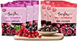 Tru Fru Dark Chocolate Dipped Freeze-Dried Fruit, Super Fruit Pack, 6-Pack Case (3-Cranberry packs and 3-Raspberry packs)