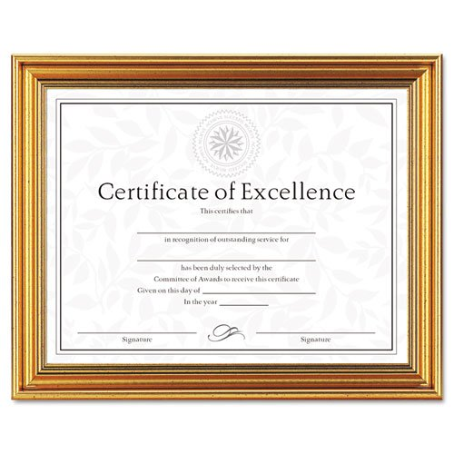 Dax N1818N1T Antique Colored Document Frame w/Certificate, Metal, 8-1/2 x 11, Gold
