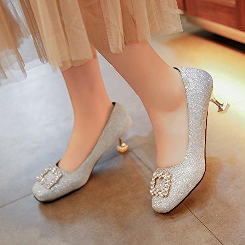 HRCxue Runder Kopf Katze mit Schuhen gut mit Licht - hell high-heel Schuhe das Wasser bohren einzelne Schuhe Frauen Schuhe zu 36 Fangen