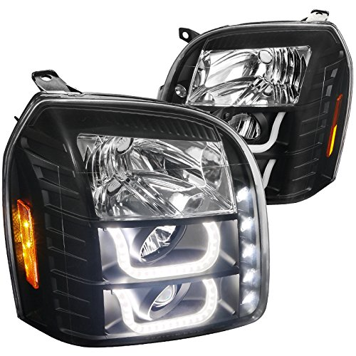 Spec-D Tuning 2LHP-DEN07JM-V2-TM GMC Yukon XL Denali 1500/2500 Black Halo LED Projector Headlights