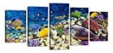 Ardemy Canvas Wall Art Prints Colorful Sea Underwater World Coral Turquoise Painting, 5 Pieces Reef Sea Bottom Gallery Wrapped Framed Pictures Artwork for Living Room Kids Nursery Room Home Decor