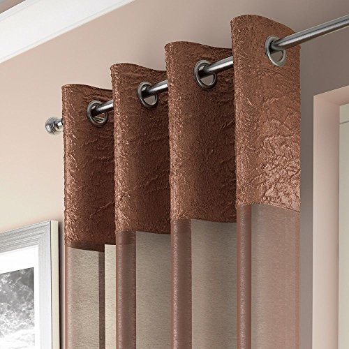 Copper Curtain - Mirabel Elegant Crushed Sheer Window Curtain Panel with Eyelet Grommet Top 55