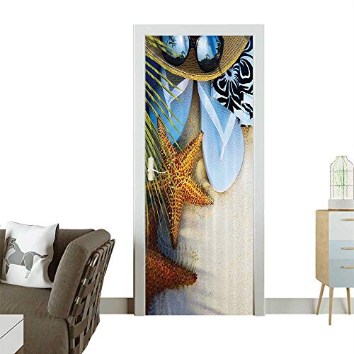 Art Door Stickers Dream The ACH Seashell Starfish Sea Star Sunglasses Flip Flop Slippers Door Decals for Home Room DecorationW23.6 x H78.7 INCH ()