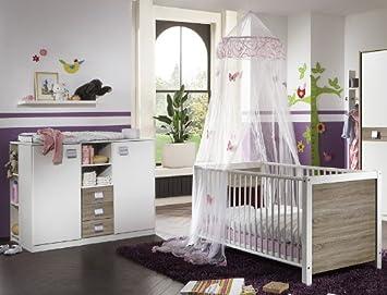 Babyzimmer weiß  4-tlg Babyzimmer weiß - Eiche Gitterbett Kleiderschrank ...