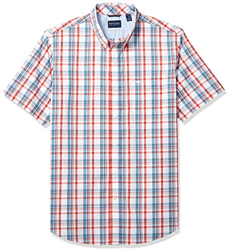 - Dockers Men's Short Sleeve Button Down Comfort Flex Shirt, Sunset Orange Checked, L
