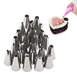MTOFAGF 24 Pcs Icing Piping Nozzles Pastry Tips Set for Cake Decorating Sugarcraft Tool MTOFAGF Brings You The Best (Color : Silver)