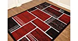 Printed Rectangles and Squares Fashionable Area Rug, Eldorado Modern Design, Elegant and Contemporary Area Rug (5'3″X7'2″, Red and Black) Review