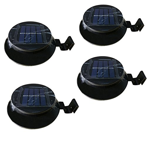 Cheap Solar Powered Gutter Light 3 LED Solar Powered Fence Roof Gutter Garden Yard Lamp Night Security Light 4 Pack Black