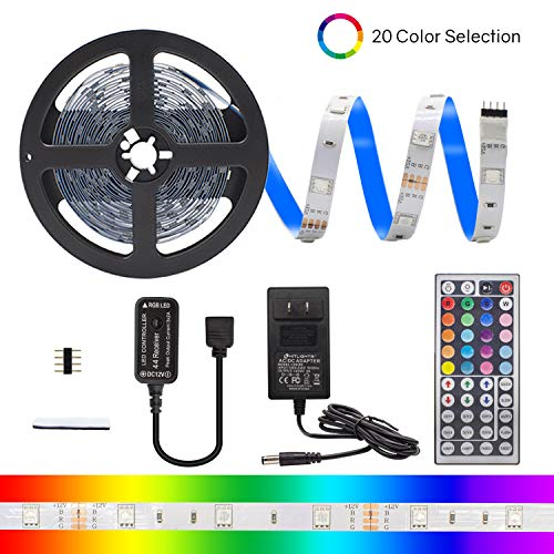 HitLights RGB LED Light Strip Kit, 16.4 Feet - Includes Power Supply and Controller. 150 LEDs, 12V DC Tape Lights -