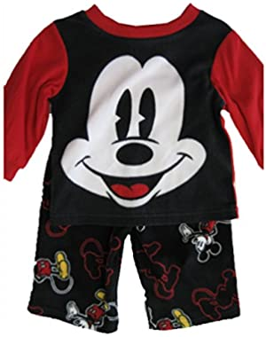 Disney Baby Boys Black Mickey Mouse Cartoon Inspired 2 Pc Pajama Set 12-24M!