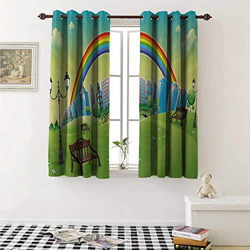 shenglv Cartoon Blackout Draperies for Bedroom Kids Nursery Design Park Bench Hills Apartments Rainbow Beams Flowers Art Print Curtains Kitchen Valance W72 x L63 Inch Multicolor