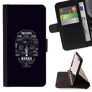 Momo Phone Case / Flip Funda de Cuero Case Cover - Números Cráneo Tiempo Muerte Arte Esqueleto - Huawei Ascend P8 Lite (Not for Normal P8)