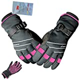 MOREOK Full Finger Winter Ski Thermal Reflective Stripe Cycling Gloves Touch Screen & Slicon Pading Motorcycle Bicycle Bike Sport Warm Gloves Outdoor Driving Men/Women