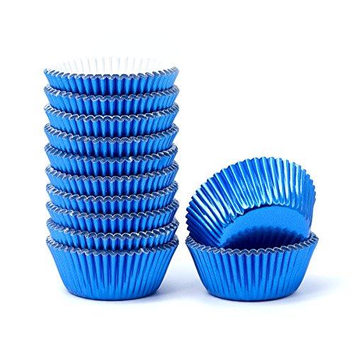 Mkustar 300 Count Foil Metallic Cupcake Liners Mini Baking Paper Cups - Cupcake Liners Mini Blue