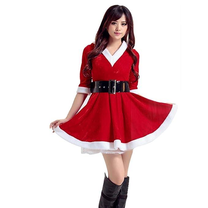 Costume Da Babbo Natale Donna Miss Santa Per Natale Feste O Party  Amazon.it   Abbigliamento 49a6e7621b7
