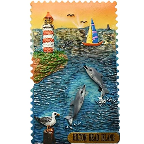 (Harbor Town Hilton Head Island America Resin 3d Strong Fridge Magnet Souvenir Tourist Gift Chinese Magnet Hand Made Craft Creative Home and Kitchen Decoration Magnetic Sticker)