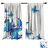 Timber Coffee Tables for Sale Room Darkening Thermal Insulated Butterflies ation Butterflies On Wooden Background Timber Wall Table Board Traveling Lifestyle Blackout Curtain for Living Room (W72 x L84 -Inch 2 Panels)
