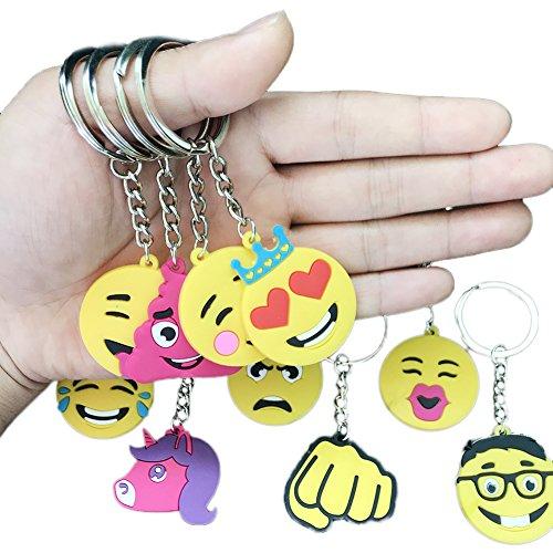 Emoji Rubber Keychains for Children's Backpacks, Birthday Party Favors, Teacher Reward Prizes, Pink Unicorn, Smile Face, 30pcs]()