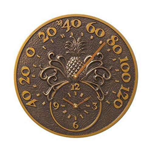 Whitehall Products Pineapple Thermometer Clock, Antique Copper (Brass Thermometer Copper)