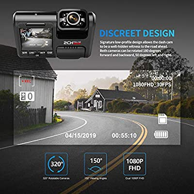 Pruveeo D30H Dash Cam with Infrared Night Vision and WiFi, Dual 1080P Front and Inside, Dash Camera for Cars Truck Taxi: Car Electronics