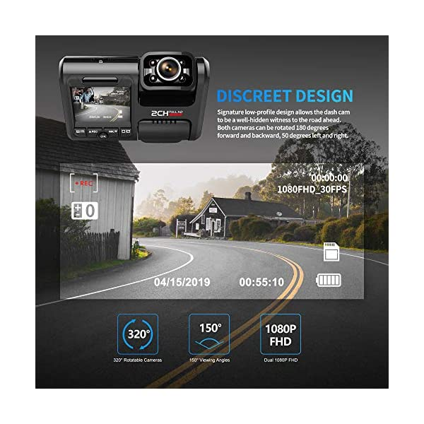 Pruveeo D30H Dash Cam with Infrared Night Vision and WiFi Dash Camera for Cars Uber Lyft Truck Taxi Dual 1080P Front and Inside