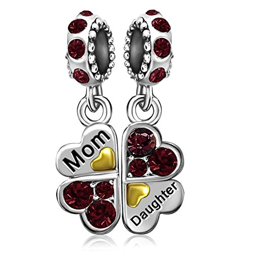 JMQJewelry Heart Mom Mother Love Daughter January Red Dangle Charms Beads European Bracelets
