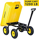 Stanley Garden BDS8317 Dump Cart 4 Cubic Feet, Heavy Duty Poly Tub 1200 lb Loading Capacity, Pneumatic Tires, Yellow