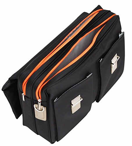 Sacoche porte-documents souple – pour ordinateur portable 15,6″ – Passepoils orange