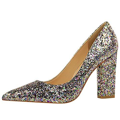 MissSaSa Damen high heel Pailletten Spitz Pumps/Partyschuhe Mehrfarbig