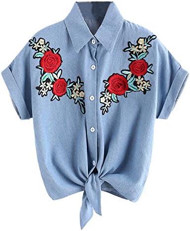QinMM Blusa Rose Mujer Flor, Camisa Vaquera Manga Corta (Azul, XL): Amazon.es: Ropa y accesorios