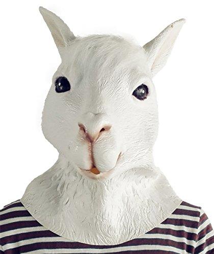 Lepy Llama Halloween Costume Alpaca mask Latex Llama mask Animal Head Mask Adult Size White ()