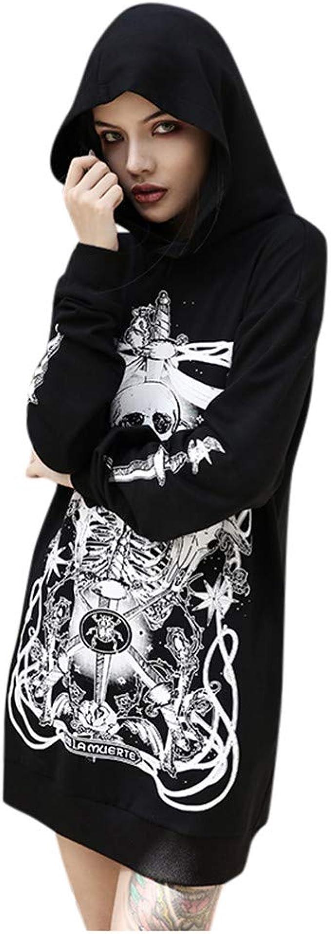 Gothique Femme Punk Noir Squelette Crâne Sweat à capuche Hoodies Veste Manteau Cosplay